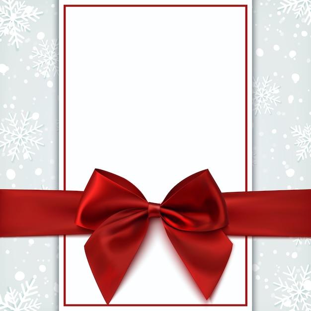 Cartão em branco com laço vermelho e neve. modelo de convite, folheto ou brochura. ilustração. Vetor Premium