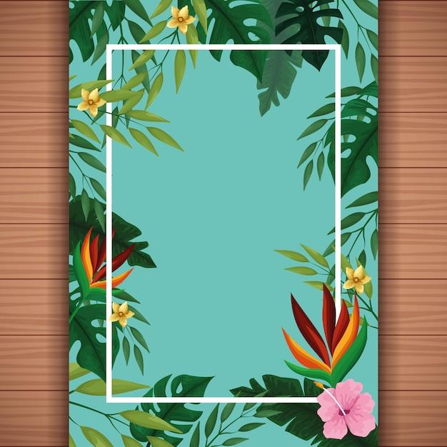 Cartão em branco de verão com moldura Vetor grátis