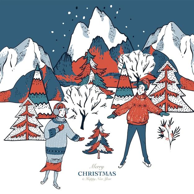 Cartão em estilo escandinavo de casas de inverno vermelho coberto de neve, pessoas de trenó, patinação no gelo em uma pista Vetor Premium