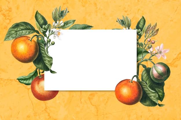Cartão emoldurado laranja Vetor grátis