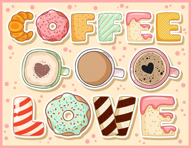 Cartão engraçado bonito do amor do café com xícaras de café. Vetor Premium