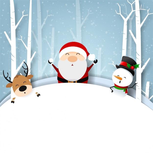 Cartão engraçado do natal, com felicidade de papai noel e de boneco de neve com floco de neve, ilustração do vetor. Vetor Premium