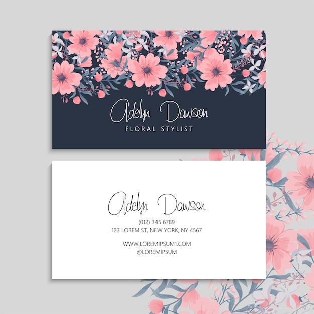 Cartão escuro com flores bonitas Vetor grátis