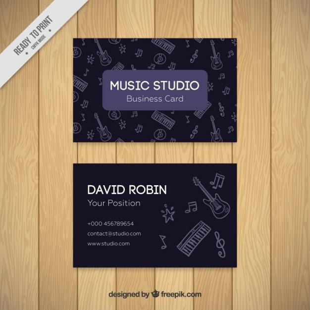 Cartão escuro do estúdio de música com desenhos Vetor grátis