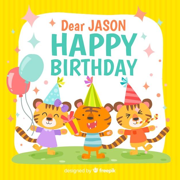 Cartão feliz aniversário Vetor grátis