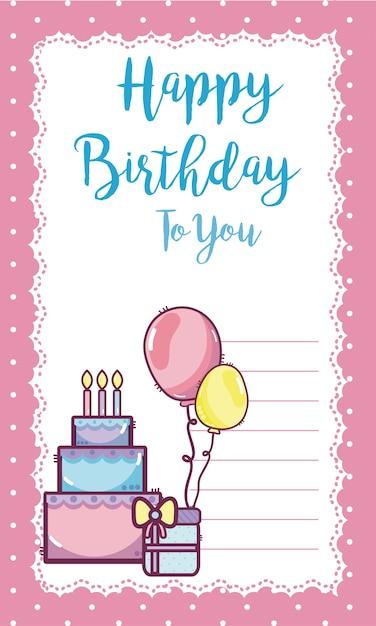 Cartão feliz aniversário | Baixar vetores Premium