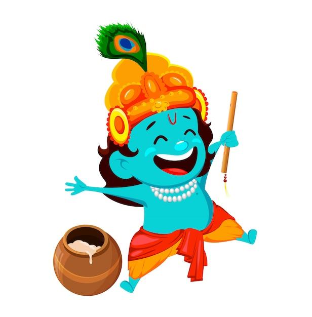 Cartão feliz de krishna janmashtami Vetor Premium
