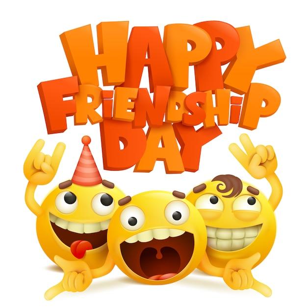 Cartão feliz do dia da amizade com grupo de personagens de banda desenhada do emoji. Vetor Premium