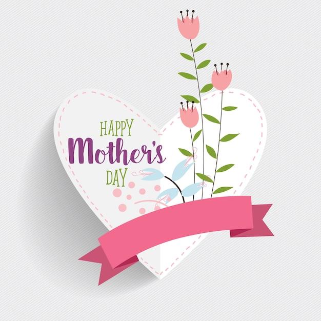 Cartão feliz do dia de mãe com forma do coração Vetor grátis
