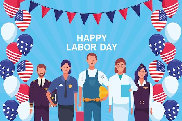 Cartão feliz do dia do trabalho, feriado dos eua Vetor Premium