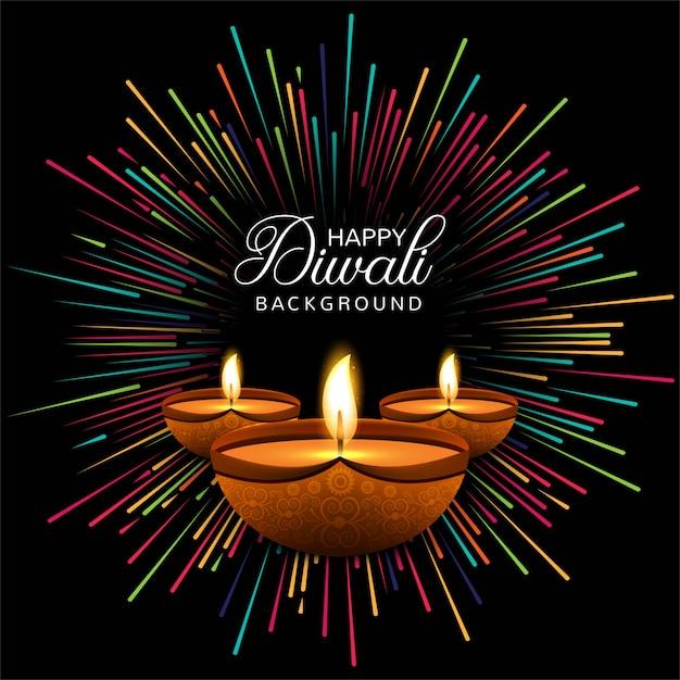 Cartão feliz do festival da lâmpada de óleo do diya do diwali Vetor grátis
