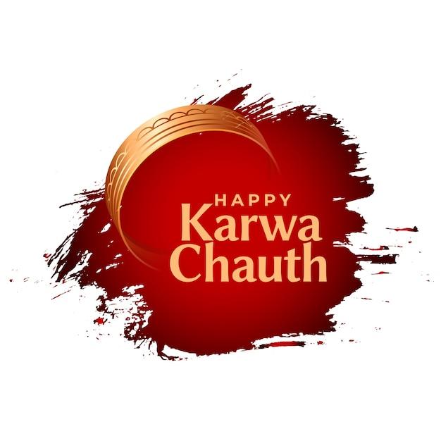Cartão feliz karwa chauth indian festival Vetor grátis
