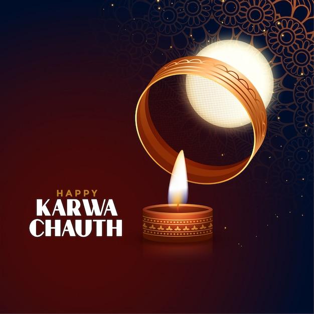 Cartão festival karwa chauth feliz com lua cheia e diya Vetor grátis