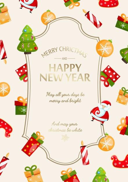 Cartão festivo de feliz ano novo e natal com inscrição de saudação Vetor grátis