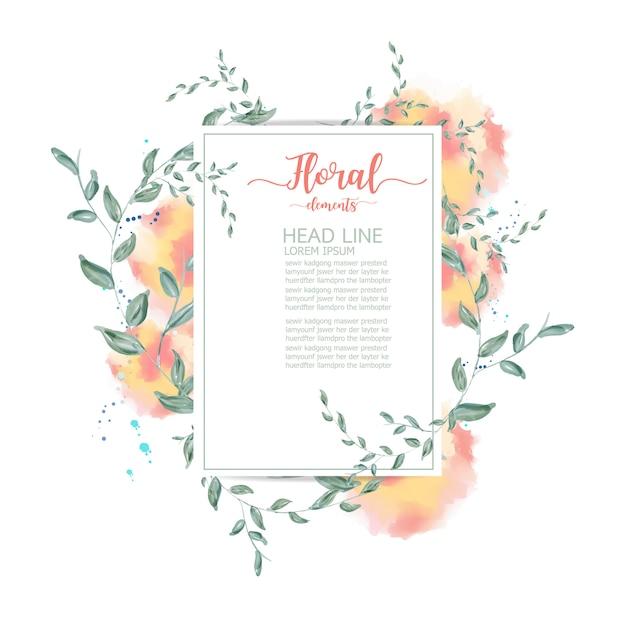 Cartão floral aquarela. Vetor Premium
