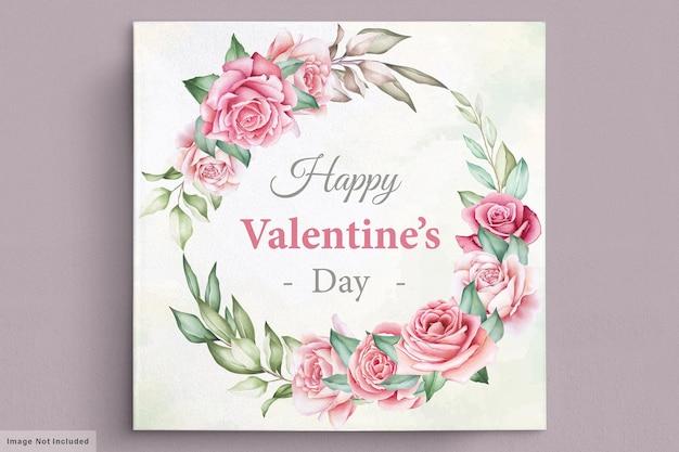Cartão floral com coroa de flores para o dia dos namorados Vetor grátis