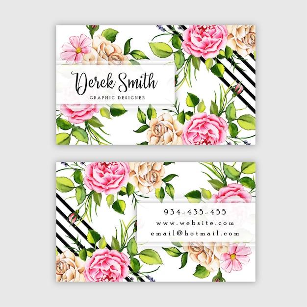 Cartão floral da aguarela Vetor Premium