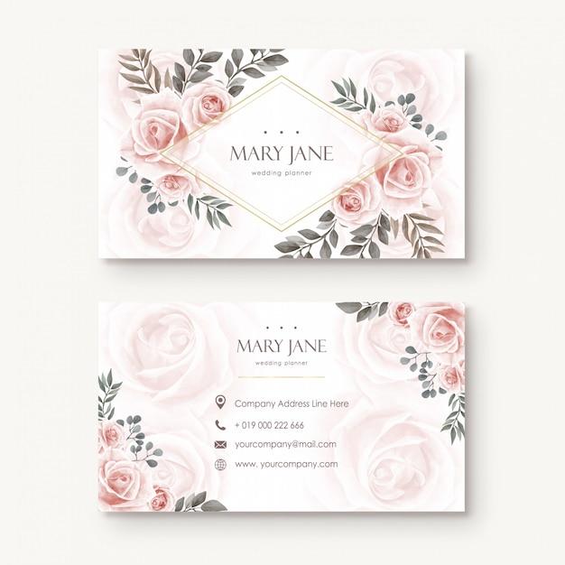 Cartão floral de busines da flor da aguarela do Vetor Premium