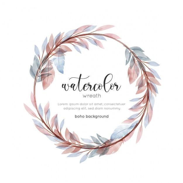 Cartão floral de estilo boêmio aquarela Vetor Premium