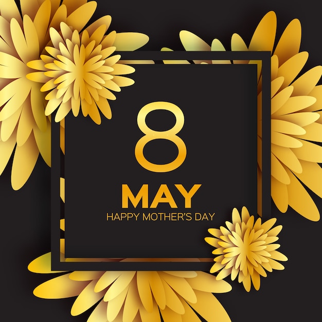 Cartão floral de folha dourada - feliz dia das mães Vetor Premium
