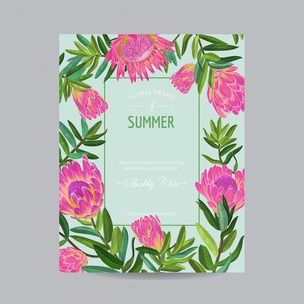 Cartão floral de verão com flores Vetor Premium