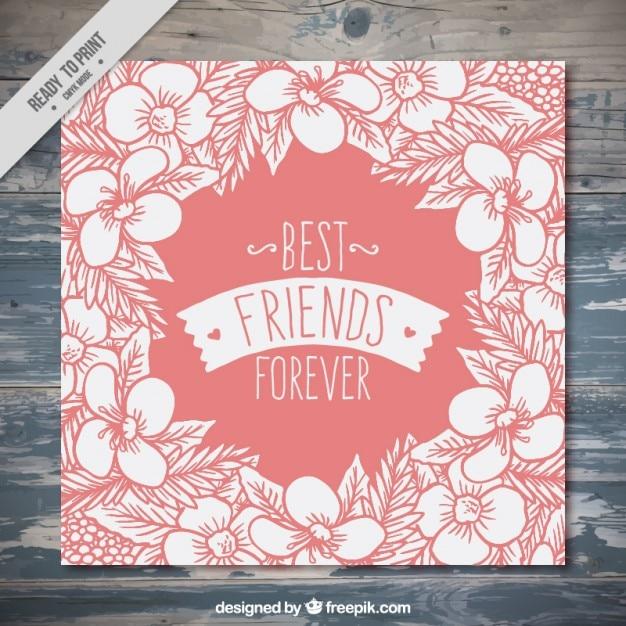 Cartão floral desenhado mão do vintage do dia da amizade Vetor grátis