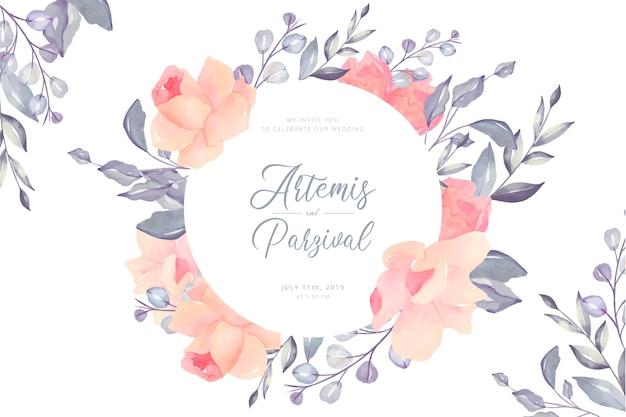 Cartão floral do casamento bonito Vetor grátis