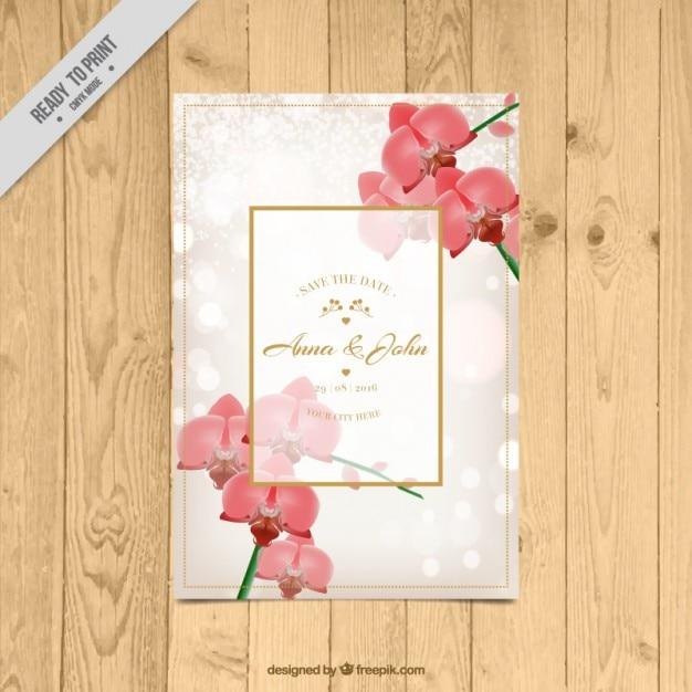 Cartão floral do casamento com orquídeas Vetor grátis