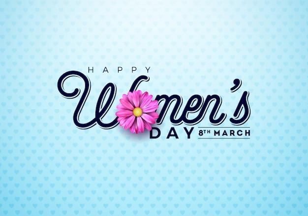 Cartão floral do dia das mulheres felizes Vetor Premium