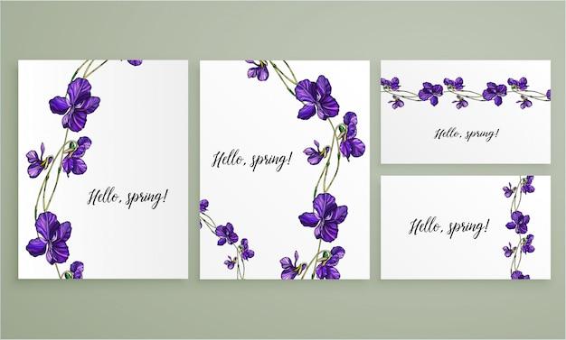 Cartão floral do vetor ajustado com flores das violetas. Vetor Premium