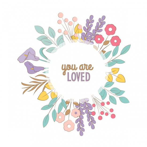 Cartão floral dos doodles. você é amado! Vetor Premium