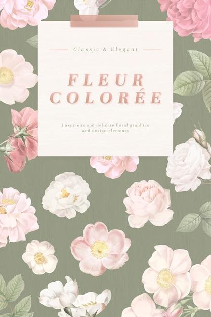 Cartão floral empoeirado Vetor grátis