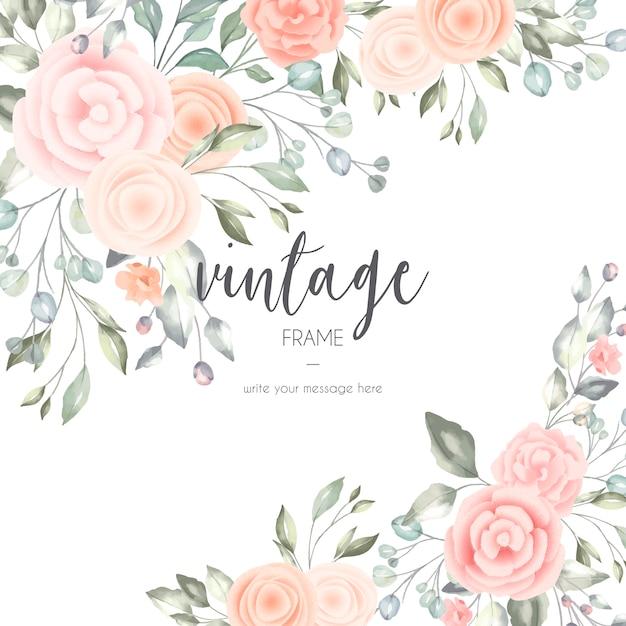 Cartão floral romântico com elementos em aquarela Vetor grátis