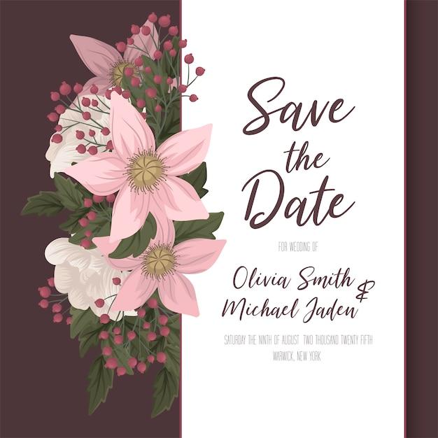 Cartão floral rosa floral de modelo de casamento Vetor grátis