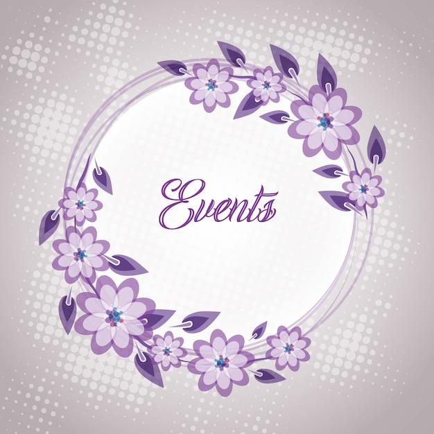 Cartão floral roxo do convite do casamento Vetor Premium