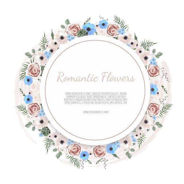 Cartão floral. saudação, modelo de convite de casamento de cartão postal. Vetor Premium
