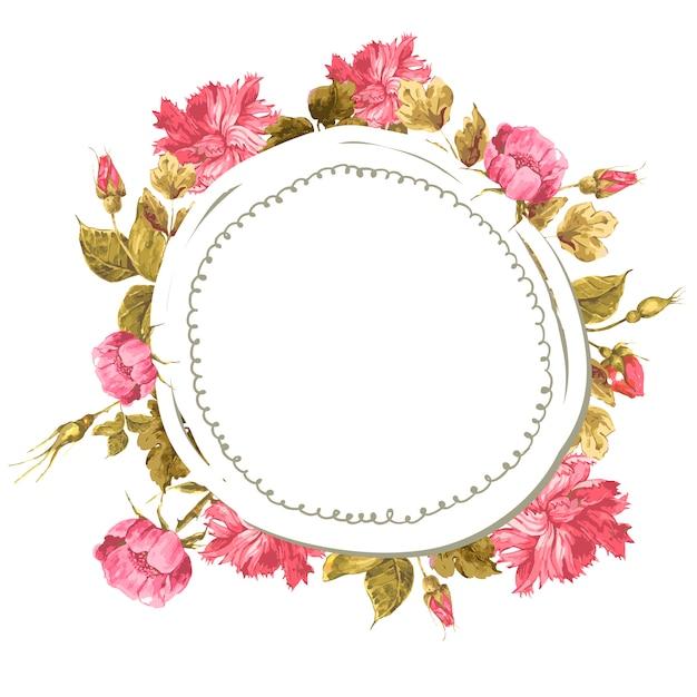 Cartão floral vintage com rosas e flores silvestres Vetor Premium