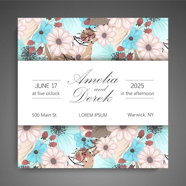 Cartão floral Vetor Premium