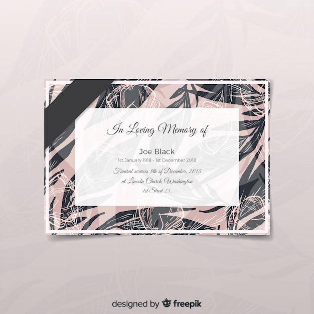 Cartão funeral moderno com estilo elegante Vetor grátis