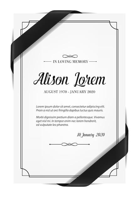 Cartão funerário com obituário de condolências e fita de luto. Vetor Premium