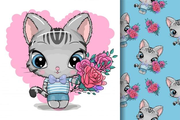 Cartão gatinho fofo com flores Vetor Premium