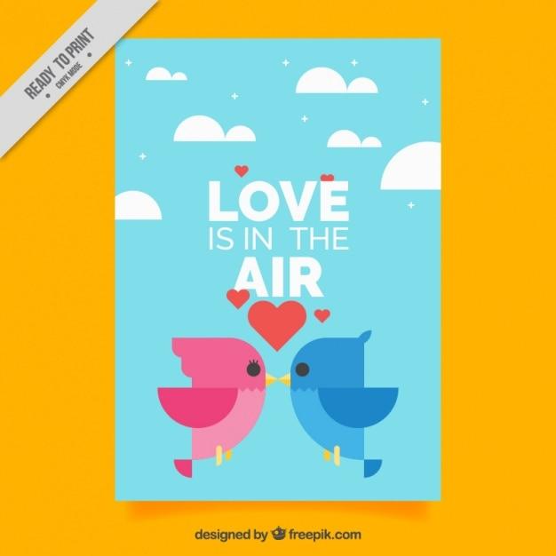Cartão liso com pássaros geométricos para dia dos namorados Vetor grátis