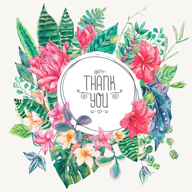 Cartão modelo de flores tropicais e folhas Vetor Premium