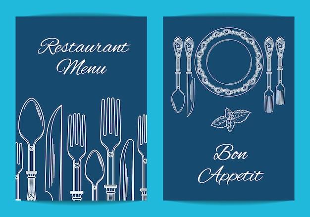 Cartão, modelo de panfleto para restaurante ou café menu com ilustração de utensílios de mesa extraído mão desenhada Vetor Premium