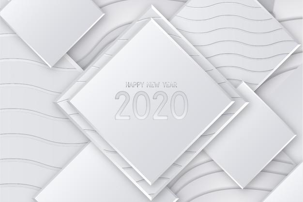 Cartão moderno feliz ano novo com fundo 3d Vetor grátis