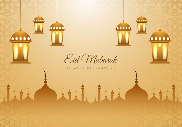 Cartão muçulmano do festival do eid mubarak Vetor grátis