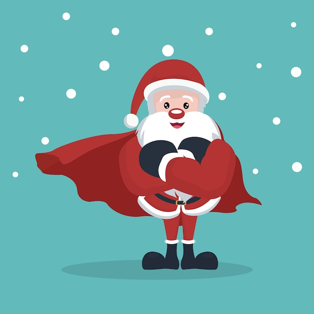 Cartão natal, de, super, papai noel, com, neve caindo Vetor Premium