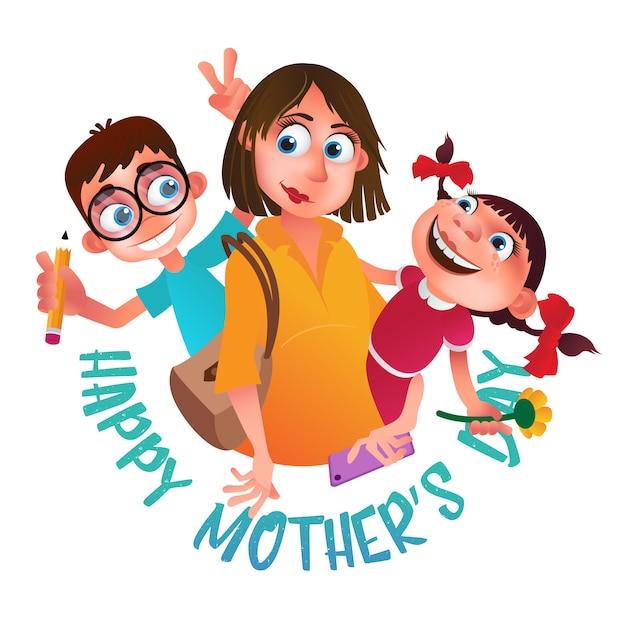 Cartão para feliz dia das mães. Vetor Premium