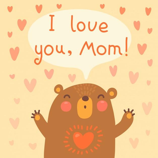 Cartão para mãe com urso fofo. Vetor Premium