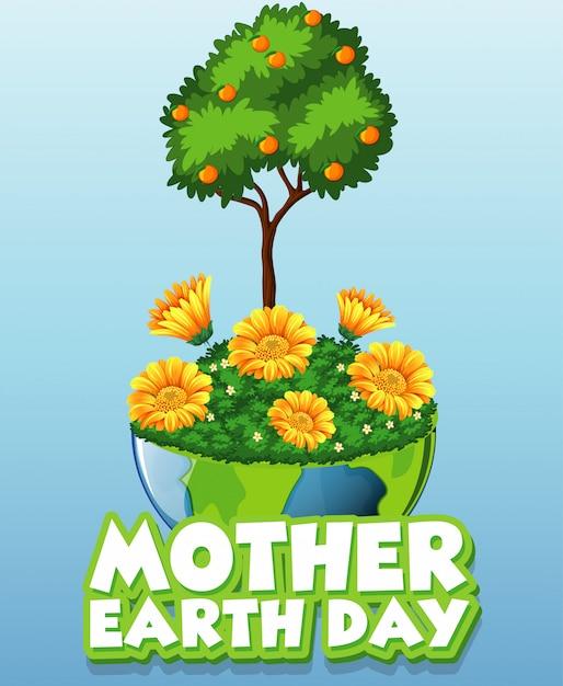 Cartão para o dia da mãe terra com árvores e flores na terra Vetor grátis